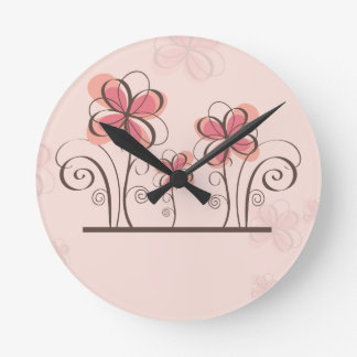 pink floral grungy clock