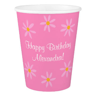 Pink Floral Happy Birthday Name (Alexandra)
