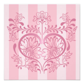 Pink Floral Heart & Stripes - Valentine Card 13 Cm X 13 Cm Square Invitation Card