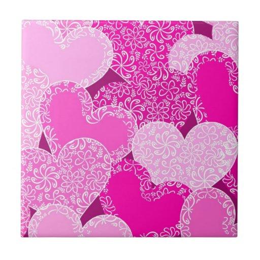 Pink floral hearts pattern ceramic tiles