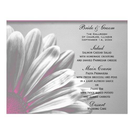 Pink Floral Highlights Wedding Menu Flyer