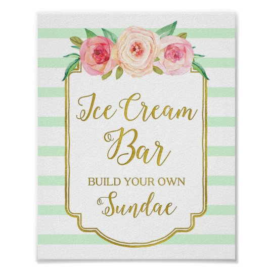 Pink Floral Ice Cream Bar Sign Gold Mint