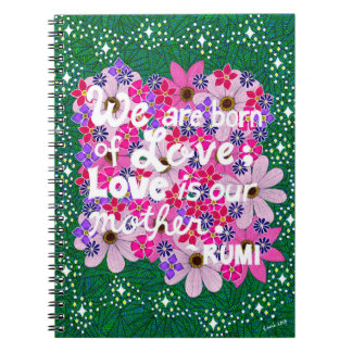 Pink Floral Inspiring Typography Quote Notebook
