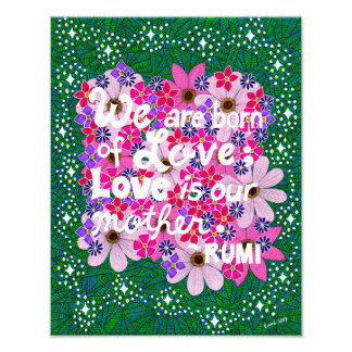 Pink Floral Inspiring Typography Quote Photo Print
