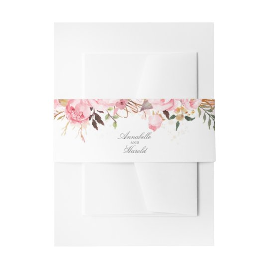 Pink Floral Invitation Belly Band