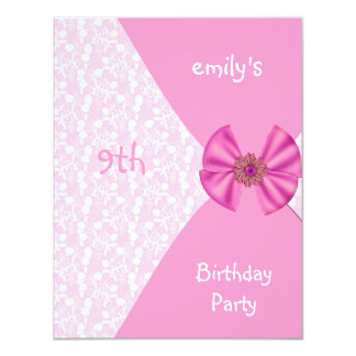 Pink Floral Invitation Cute Bow 9th Birthday