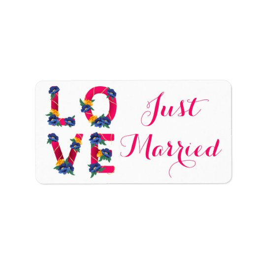 Pink Floral Just Married Love Wedding Announcement Label