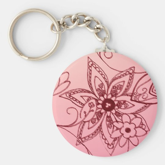 Pink Floral Key Chain