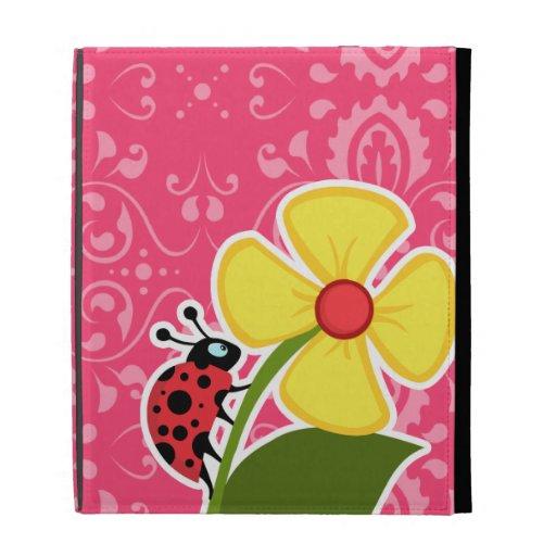 Pink Floral; Ladybug iPad Folio Cover