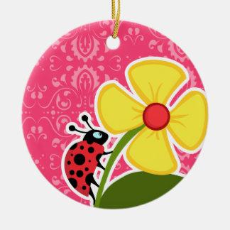 Pink Floral; Ladybug Christmas Ornament