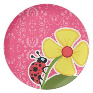 Pink Floral; Ladybug Plate