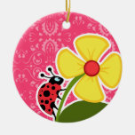 Pink Floral; Ladybug Round Ceramic Decoration