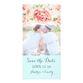 Pink Floral Light Blue Save the Date Wedding Photo Personalised Photo Card
