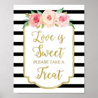 Pink Floral Love is Sweet Sign Gold Black Stripes