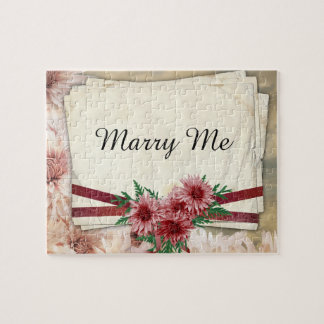 Pink Floral Marry Me Puzzle