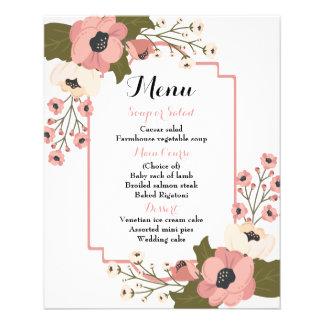 Pink Floral Menu Watercolor Flowers Wedding