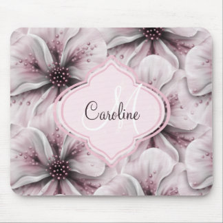 Pink Floral Monogram Mouse Pad