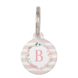 Pink Floral Monogram Pet Name Tag