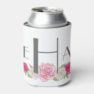 Pink Floral Monogrammed Coozie, enjoy life