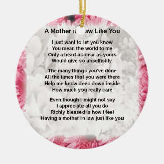 Pink Floral -  Mother in Law Poem Christmas Ornament