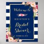Pink Floral Navy Blue Stripes Bridal Shower Sign