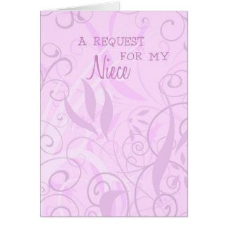 Pink Floral Niece Flower Girl Invitation Card
