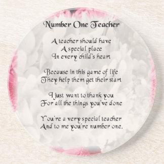 Pink Floral - number 1 Teacher Coaster