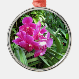 Pink floral on rich greenery christmas ornaments