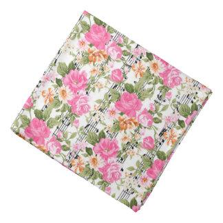 Pink Floral on Sheet Music Bandana