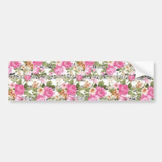 Pink Floral on Sheet Music Bumper Sticker