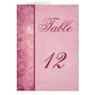 Pink Floral Paisley Table Number Card
