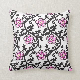 Pink Floral Pattern,Black and White Throw Pillow Cushions