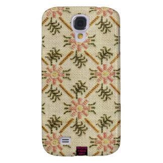 Pink Floral Pattern Cross-Stitch Design Galaxy S4 Case
