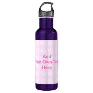 Pink Floral Pattern. Custom Pink Text. 710 Ml Water Bottle