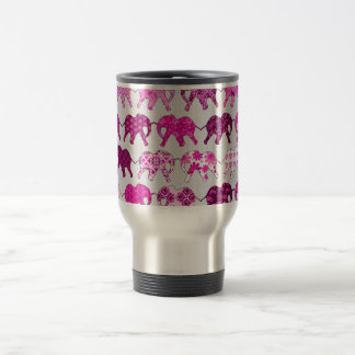Pink Floral Pattern Elephants Stainless Steel Travel Mug