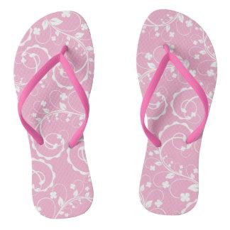 pink floral pattern flip flops