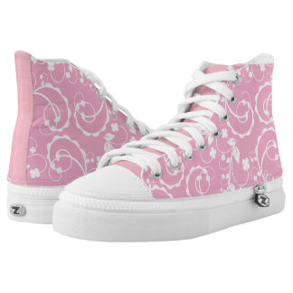 pink floral pattern high tops