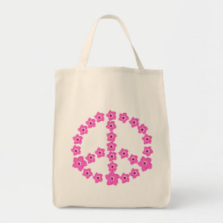 Pink floral Peace Symbol Grocery Tote Bag