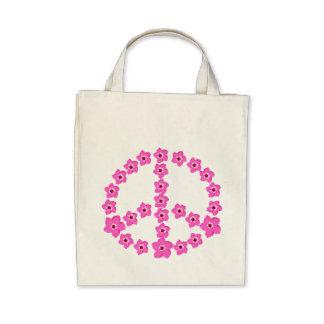 Pink floral Peace Symbol Tote Bags