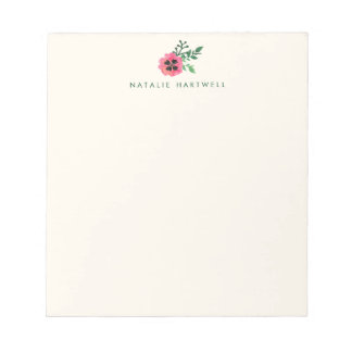 Pink Floral Personalized Cream Notepads
