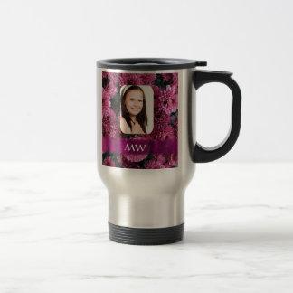 Pink floral personalized photo travel mug