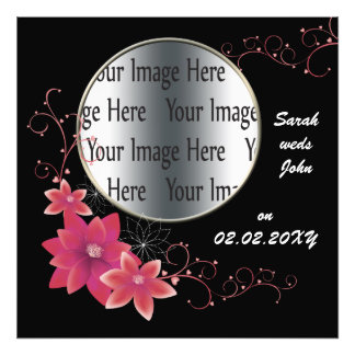 pink floral photo frame template