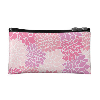 Pink Floral Print Cosmetic Case/ Pencil Case
