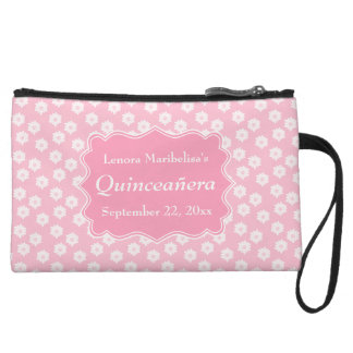Pink Floral Quinceanera Wristlet