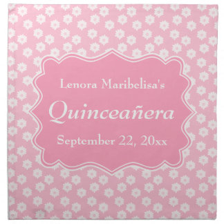 Pink Floral Quinceanera Napkin