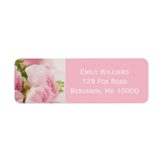 Pink Floral Return Address Label