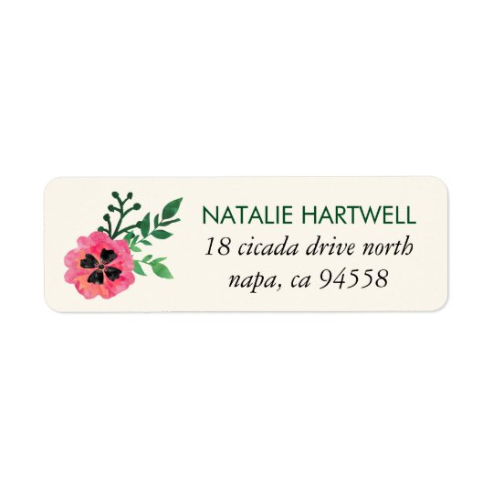 Pink Floral Return Address Labels