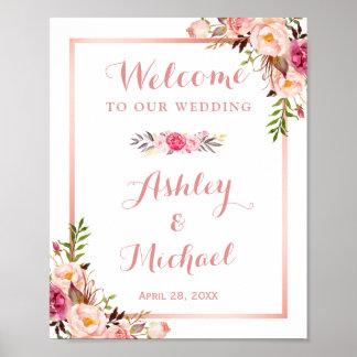 Pink Floral Rose Gold Wedding Welcome Sign