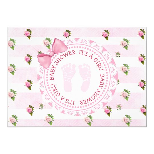 Pink Floral Roses ts a girl Baby Shower Invitation