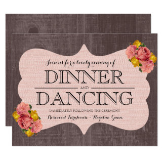 Pink Floral Roses Wood Rustic Wedding Reception Card